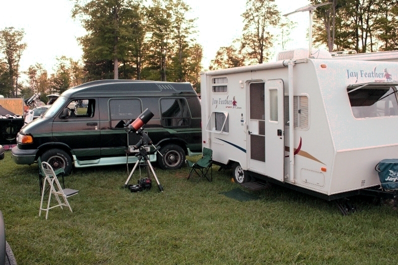Campsite at Cherry Springs with CGEM mount and C6 telescope; 8-28-11