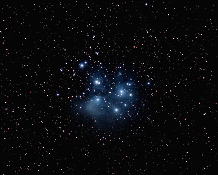 M 45; mag 1.5; size 109'; 21 min (21x60sec); Canon 200mm f/2.8 lens; ISO 1600; IDAS; 2-24-09; Coyle